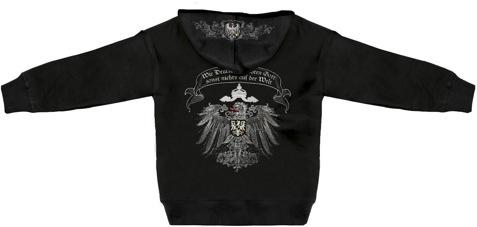 Kapuzenjacke mit großer Einstickung und Aufdruck Preußen Preussen 132040