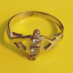 Antik-Stil-Exklusiver-Art-Deco-Damenring-Echt-585-Weissgold-Diamanten
