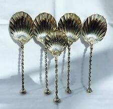 Rare Solid Silver & Gilt Mappin & Webb Arts & Crafts Strawberry Serving Spoons