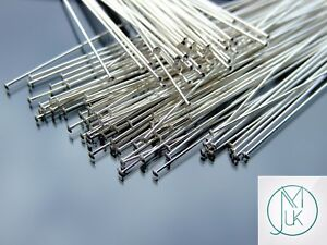 Solid-925-Sterling-Silver-Flat-End-1inch-25-4mm-Head-Pins-Jewellery-Making