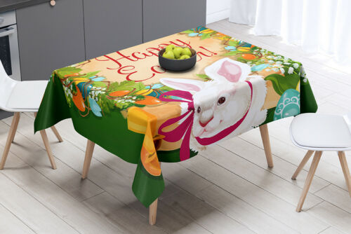 Easter Theme Rectangular Tablecloth Polyester Fabric Home Table Cover Unique