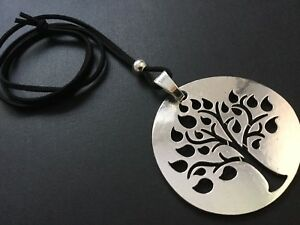 BLACK-Long-Suede-necklace-with-a-Large-statement-TREE-OF-LIFE-pendant-LAGENLOOK