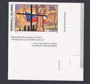 MARSHALL ISLAND STAMPS SC# 316 IMPERF W/ BOTTOM INSCRIPTION TAB WWII LIDICE