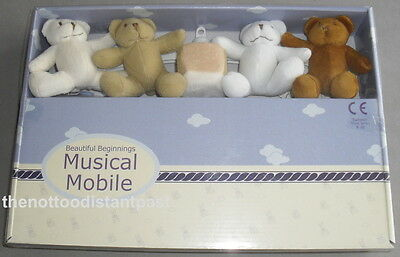 Soft Toy BEAR MUSICAL BABY COT MOBILE Child Bed Bedtime Clockwork Fun Gift NEW