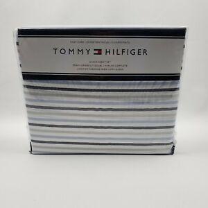 Tommy Hilfiger Navy /& White Oxford Stripe Queen Sheet Set 4 pc NWT