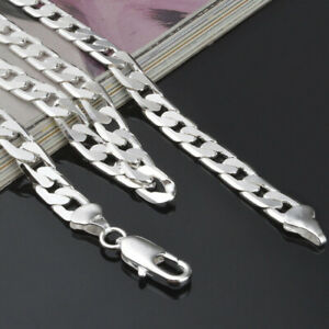 8mm-Mens-Silver-Curb-Chain-Necklace-Sterling-18-20-22-24-034-Inch-Unisex-Jewelry