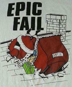 Epic-Fail-X-mas-T-Shirt-Santa-Crashing-Through-Roof-Funny-Great-Condition-Large