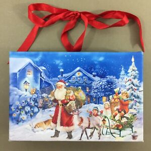 Santa-Reindeer-Dog-amp-Kids-LED-Christmas-picture-6x4-034-changing-colors-timer-new