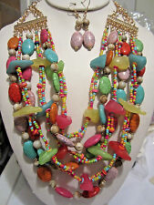 Multi Layers Multi Color Lucite Bead Glass Seed Bead Necklace Earring Set