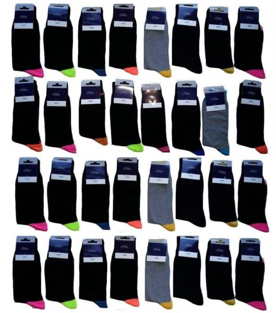 30 PAIRS MEN/'S ADULTS BLACK COTTON SOCKS WITH MIX COLOURED UK SIZE 6-11  BGFPYT