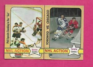 1972-73-OPC-DAVE-KEON-PHIL-ESPOSITO-NHL-ACTION-CARD-INV-C1677