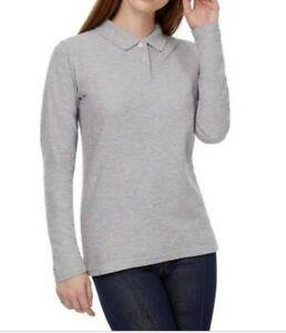 EUC BALMAIN GOLF women's beige collared pique L/S polo shirt sz90 or Med