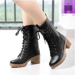 Autumn-Fashion-PU-Leather-Women-039-s-Round-Toe-Block-Heel-Lace-Up-Ankle-Boots-Jd-uk