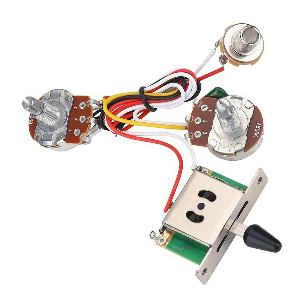 Guitar Pre Wired Harness 3 Way Toggle Switch 1v1t 500k For Electric Pots Knobs Wiring Strat Sale Guitars Ebay