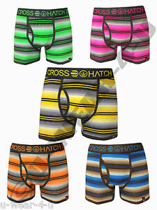 MENS CROSSHATCH LOGIC STRIPE BRIGHT COLOURED FITTED TRUNK BOXER SHORTS. S,M,L,XL