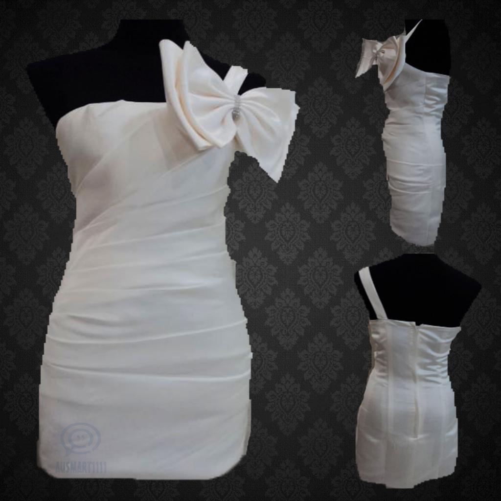Weiß One Shoulder Formal Party Bow Dress Strapless Neckline Pleat Evening Gown
