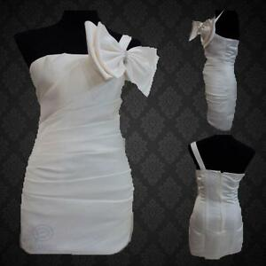 White-One-Shoulder-Formal-Party-Bow-Dress-Strapless-Neckline-Pleat-Evening-Gown