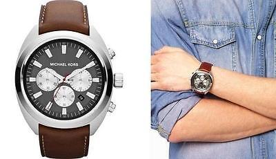 Michael Kors Men's Dean Chronograph Stell Chocolate Leather 48mm Watch MK8294