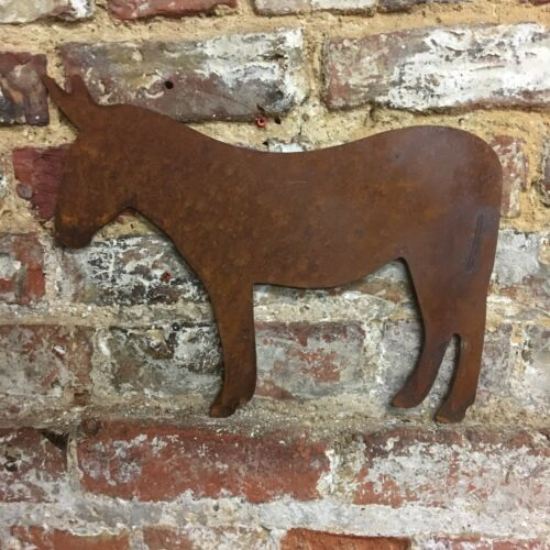 Rusted DONKEY Silhouette Sign Metal Home Garden Ornament Decoration wall lawn