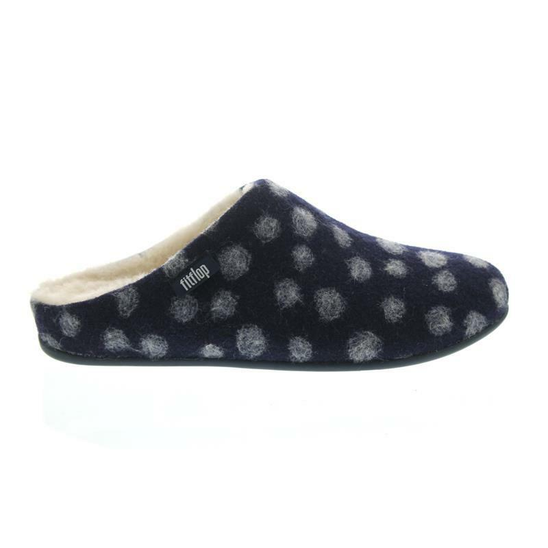 FITFLOP Chrissie Dots, Midnight Navy, Wool, Wool, Wool, Slipper, tosatura Wollfutter n22-399 80a518