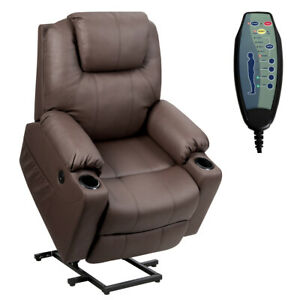 Electric Power Lift Recliner Chair Massage Sofa Leather w/ USB Charge Port Brown