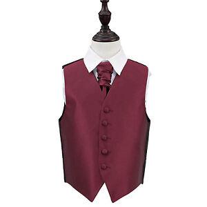 DQT-Plain-Solid-Check-Burgundy-Boys-Wedding-Waistcoat-amp-Cravat-Set