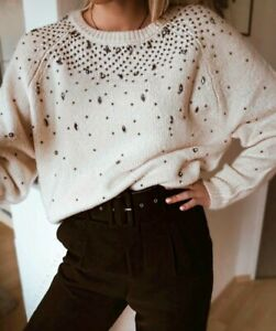 Beaded Neck Rund 149 Perler Med Small Sjælden S Ny Creme Sweater Ecru Zara 9598 Y4wqIAXHn