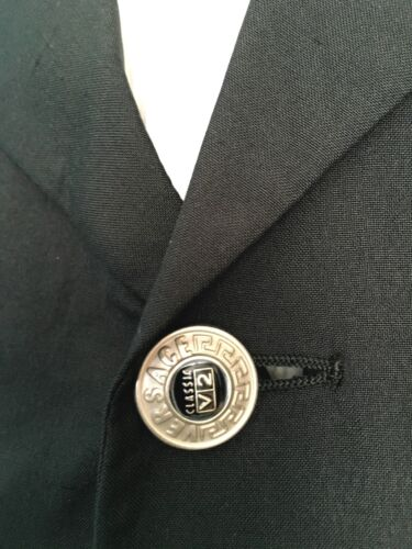 Silk Versace Jacket Buttons 44 Uk Silver Classic 100 Chest Black AdxwHdP