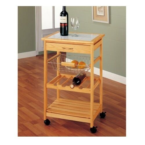 Small Rolling Kitchen Cart With Basket Serving Portable Wooden Top Storage Shelf