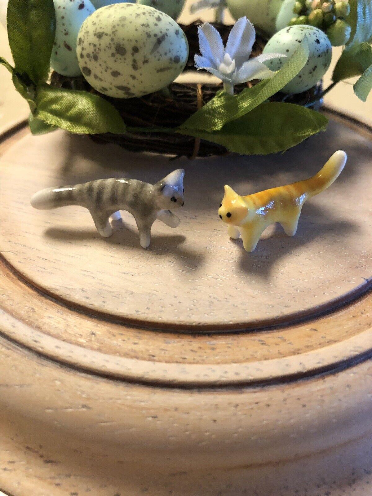 OOAK Miniature Dollhouse Tiny Striped 1 12 Tabby Cats Handmade Original Figurine