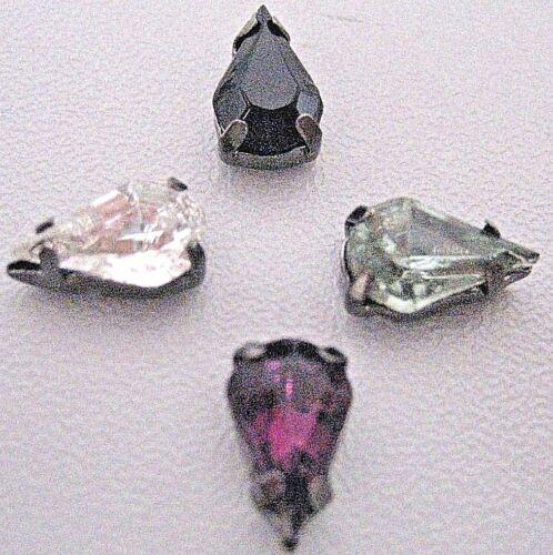 Jet Black Diamond 12 Sew-on 10x6mm Poire Larme Rhinestone Améthyste cristal