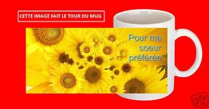 Détails Sur Mug Tasse Ceramique Tournesol Avec Ou Sans Texte Pour Ma Soeur Personnalisable