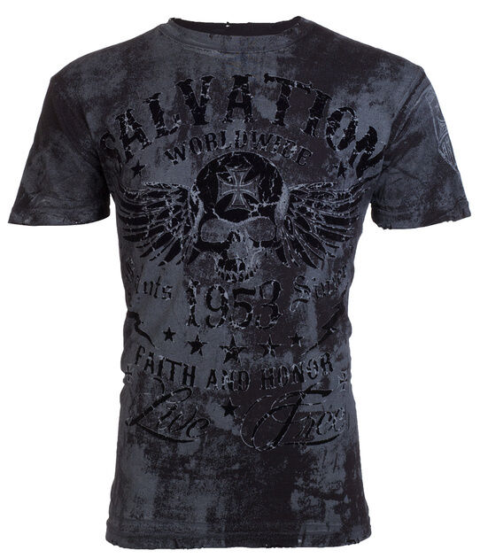 Archaic AFFLICTION Men T-Shirt BLACK TIDE Skull Tattoo Biker MMA UFC M-3XL $40 a