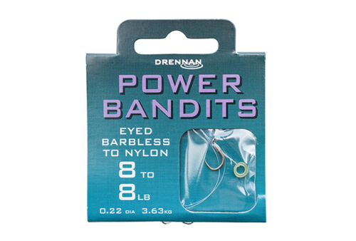 Drennan Power Bandits Eyed Barbless Hooks to Nylon Available in Size 8 to 16