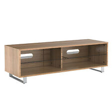 TV Stand Wood Cabinet Gloss Shelf Glass upto 60 Inch Flat Screen LED LCD TVs Oak