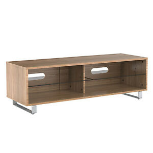 Tv Stand Wood Cabinet Gloss Shelf Glass Upto 60 Inch Flat Screen Led