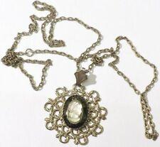 pendentif chaine bijou style vintage camée hématite femme couleur argent 4854