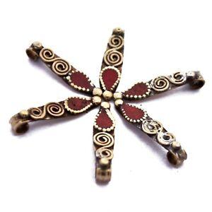 Coral-Brass-6-Charms-Tibetan-Nepalese-Handmade-From-Tibet-Nepal-CH657