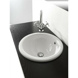 Lavandino lavabo bagno design vienna da incasso in ceramica bianco ebay - Lavandino da incasso bagno ...