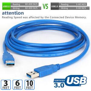 3-6ft-10ft-Bleu-Hi-Speed-USB-3-0-type-A-male-a-male-cable-d-039-extension-Cordon-5-Gbit-s