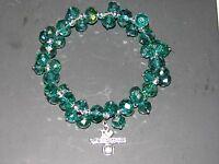 I love Volleyball Blue Bead Bracelet Silver tone charm Green crystal rhinestones