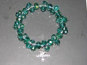 I-love-Volleyball-Blue-Bead-Bracelet-Silver-tone-charm-Green-crystal-rhinestones