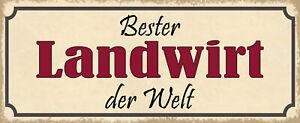 Best Landwirt the World Tin Sign Shield Arched 10 X 27 CM K1173