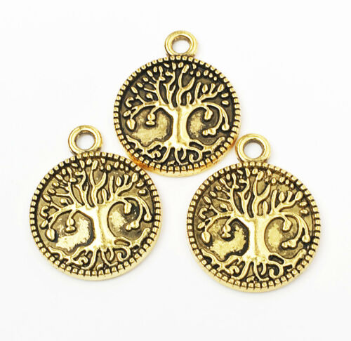6 pcs of Antique gold finished Tree of life pendant 22x18mm