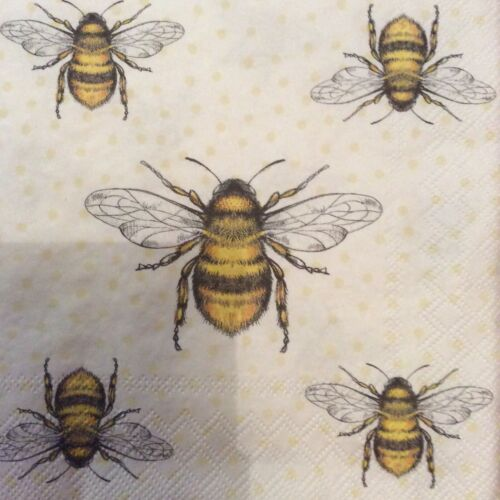 Papel Servilletas Decoupage X 2 abejas 33cm