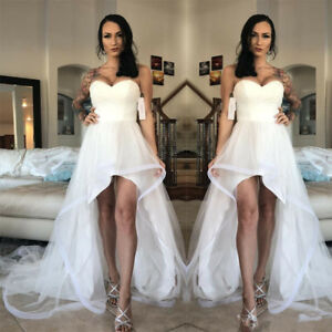 Image Is Loading Modest White Ivory High Low Beach Wedding Dresses