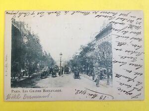 cpa-PARIS-1902-Transport-Circulation-ATTELAGE-VOITURE-CALECHE-AUTOBUS-VELO-TAXI