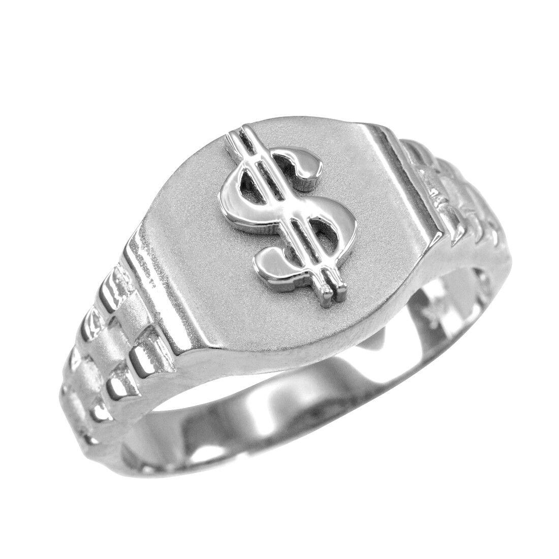 10K White gold Dollar Sign Mens Hip-Hop Ring