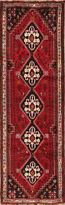 Excellent-Geometric-Vegetable-Dye-Red-Runner-Abadeh-Tribal-Hall-Way-Wool-Rug-3x9