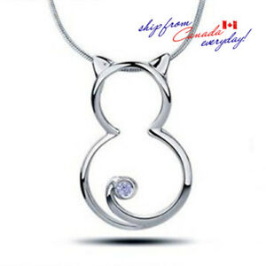 S925-Sterling-Silver-Adorable-Kitty-Cat-CZ-Pendant-W-or-W-O-Chain